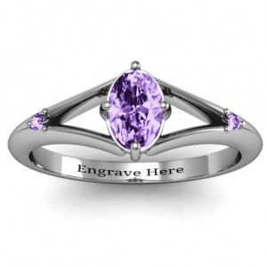 Personalised Oval Split Shank Accent Ring - Custom Made By Yaffie™