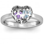 Personalised Petite Caged Hearts Ring with 13 Stones - Custom Made By Yaffie™
