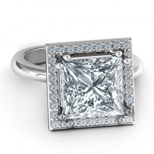 Personalised Princess Cut Cocktail Ring with Halo - Custom Made By Yaffie™