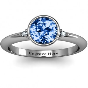 Personalised Round Bezel Solitaire with Twin Accents Ring - Custom Made By Yaffie™
