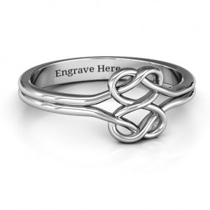 Personalised Tangled Hearts Infinity Ring - Custom Made By Yaffie™