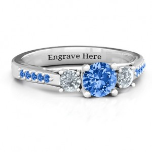 Personalised Three Stone Eternity Ring with Twin Accent Rows - Custom Made By Yaffie™