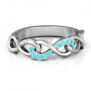 Personalised Triple Entwined Infinity Ring with Accents - Custom Made By Yaffie™