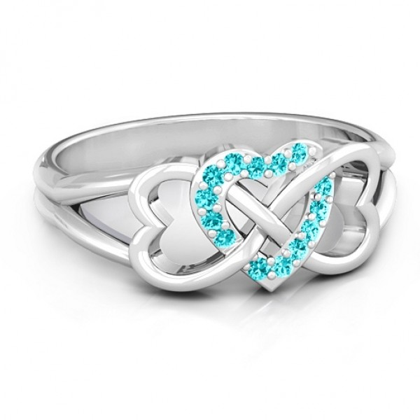 Personalised Triple Heart Infinity Ring with Mint Swarovski Zirconia Stones - Custom Made By Yaffie™