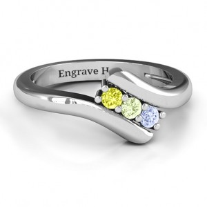 Personalised Three Stone Classic Bypass Ring - Custom Made By Yaffie™