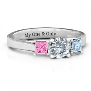Personalised Three Stone Eternity with Princess Accents Ring - Custom Made By Yaffie™