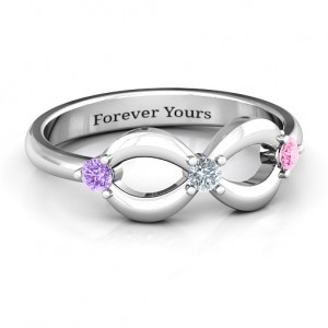 Personalised Three Stone Infinity Ring - Custom Made By Yaffie™