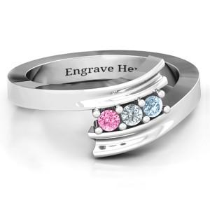 Personalised Three Stone Ridged Bypass Ring - Custom Made By Yaffie™