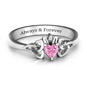 Personalised Trinity Knot Heart Crown Ring - Custom Made By Yaffie™