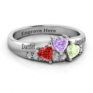 Personalised Tripartite Heart Gemstone Ring with Accents - Custom Made By Yaffie™
