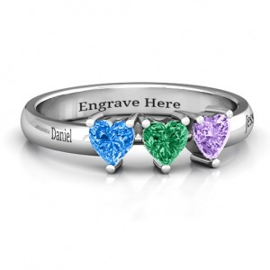 Personalised Triple Heart Stone Ring - Custom Made By Yaffie™