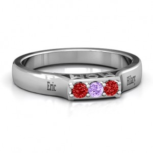 Personalised Triple Round Stone MOM Ring - Custom Made By Yaffie™
