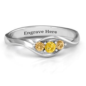 Personalised Triple Stone Swirl Ring - Custom Made By Yaffie™