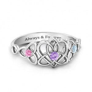 Personalised Triple Trinity Celtic Heart Ring - Custom Made By Yaffie™