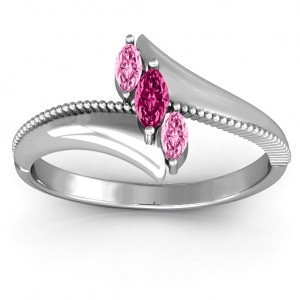 Personalised Trois Marquise and Studded Ring - Custom Made By Yaffie™