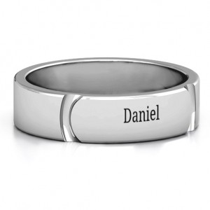 Personalised Tungsten Lysander Curved Groove Men's Ring - Custom Made By Yaffie™