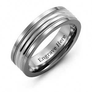 Personalised Tungsten Men's Double Row Inlay Tungsten Band Ring - Custom Made By Yaffie™