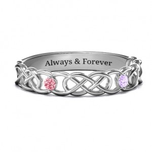 Personalised TwoStone Interwoven Infinity Ring - Custom Made By Yaffie™