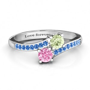 Personalised Two Stone Ring With Sparkling Accents And Filigree Settings - Custom Made By Yaffie™