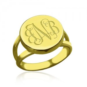 Personalised Circle Monogram Signet Ring - Custom Made By Yaffie™