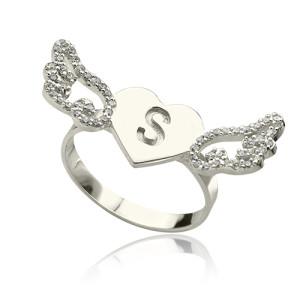 Personalised Heart Angel Wings Ring Engraved Initial Birthstone - Custom Made By Yaffie™