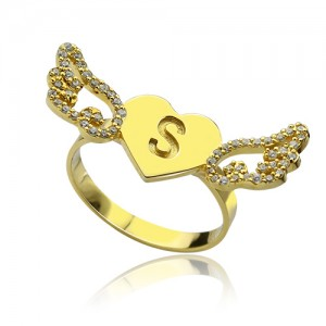 Personalised Angel Wings Heart Ring with Birthstone Initial - Custom Made By Yaffie™