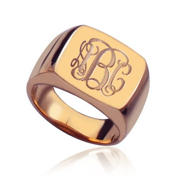 Personalised Square Script Monogram Initial Ring - Custom Made By Yaffie™