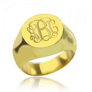 Personalised Engraved Circle Monogram Signet Ring - Custom Made By Yaffie™