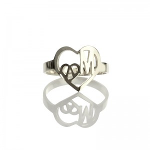 Personalised Heart in Heart Double Initials Ring - Custom Made By Yaffie™