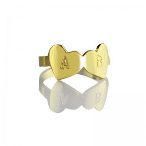 Personalised Custom Double Heart Ring Engraved Letter - Custom Made By Yaffie™