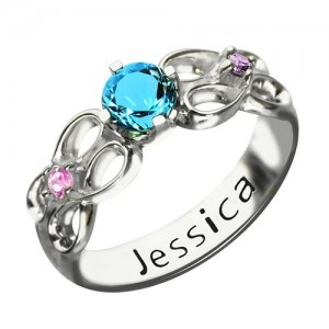 Personalised Customised Infinity Promise Ring With Name Birthstone for Her - Custom Made By Yaffie™
