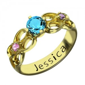 Personalised Birthstone Infinity Promise Ring With Name - Custom Made By Yaffie™