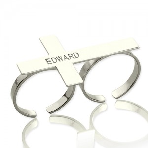 Personalised Custom Two finger Cross Ring Engraved Name - Custom Made By Yaffie™