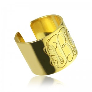 Personalised Script Monogram Cuff Ring Gifts - Custom Made By Yaffie™