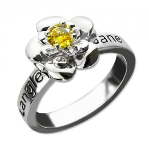 Personalised Promise Rose Ring Engraved Name Birthstone - Custom Made By Yaffie™