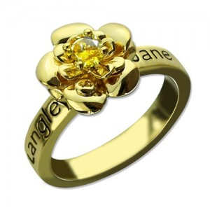Personalised Promise Rose Ring for Her with Birthstone - Custom Made By Yaffie™