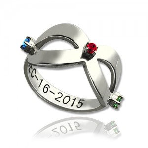 Personalised Infinity Birthstones Ring Engraved Date - Custom Made By Yaffie™