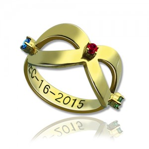Personalised Engraved Infinity Birthstone Ring - Custom Made By Yaffie™