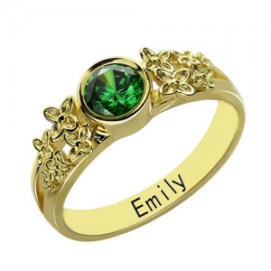 Personalised Flower Engagement Birthstone Name Ring - Custom Made By Yaffie™