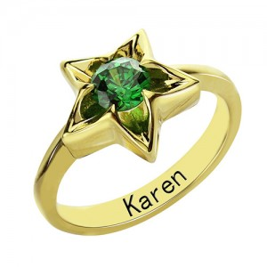 Personalised Star Ring with Birthstone - Custom Made By Yaffie™