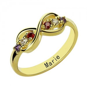 Personalised Infinity Promise Rings with Birthstone - Custom Made By Yaffie™