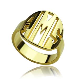 Personalised Block Circle Monogram Ring - Custom Made By Yaffie™