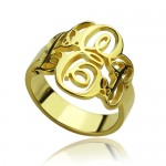 Personalised Interlocking Three Initials Monogram Ring - Custom Made By Yaffie™