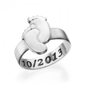 Personalised Engraved Baby Feet Ring - Custom Made By Yaffie™