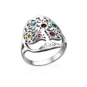 Personalised Family Tree Jewellery Birthstone Ring - Custom Made By Yaffie™