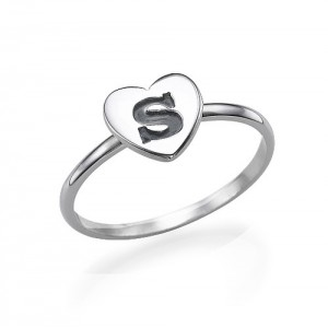 Personalised Heart Initial Ring - Custom Made By Yaffie™