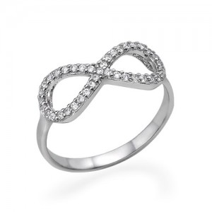 Personalised Cubic Zirconia Encrusted Infinity Ring - Custom Made By Yaffie™