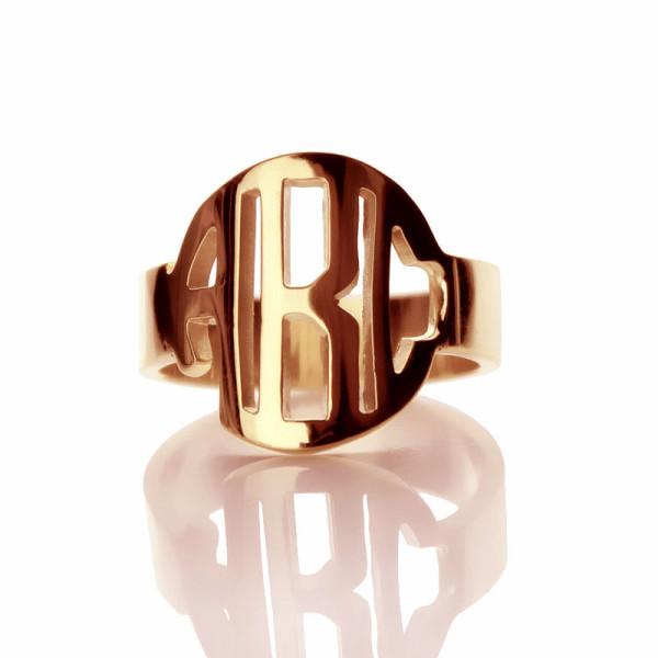Personalised Circle Block Monogram 3 Initials Ring - Custom Made By Yaffie™
