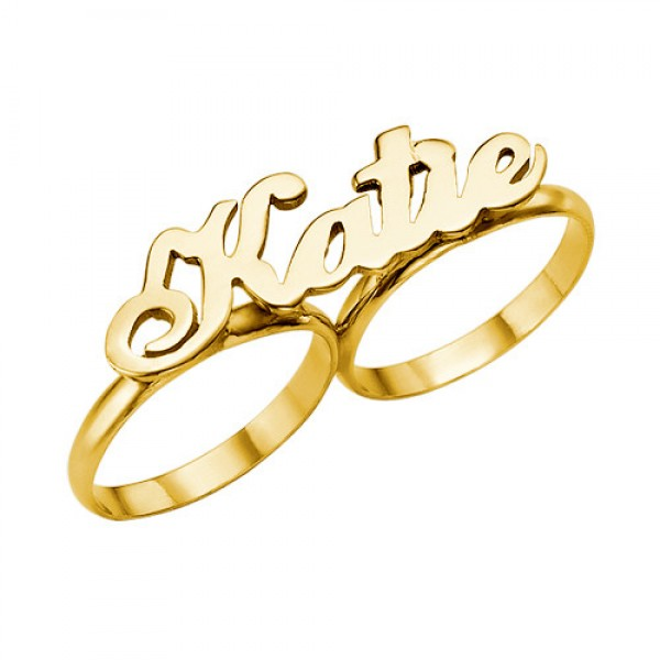 Personalised Two Finger Name Ring - Custom Made By Yaffie™