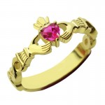 Personalised Ladies Modern Claddagh Rings With Birthstone Name - Custom Made By Yaffie™